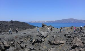On the top of volcanic island Nea Kameni.
